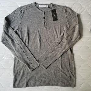 Thomas Payne Gray Henley Sweater Button Down